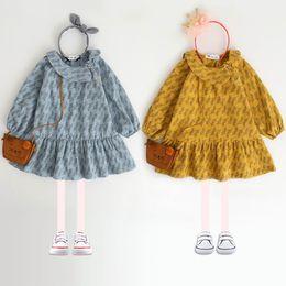 Wholesale Peter Pan Collar Knee - 2017 Autumn New Girls Dresses Leaves printing Peter pan Collar Long Sleeve Dress Children Clothing 26 Years E0822