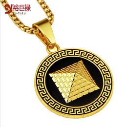 Wholesale Egyptian Plate - Fashion 18k Real Gold Silver Egyptian Pyramid Pendant With Black Side Hip Hop Jewelry Packing With Gift Box For Men Women