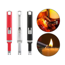 Wholesale Green Electronic Usb Lighter - Wholesale USB Lighter BBQ Lighter Electronic Arc Lighter, Flameless, Rechargeable Lighter, Windproof, USB cable included, Gift Box, Black