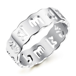 Wholesale Unique White Gold Engagement Rings - Unique Religion Hollow Design Rings For Man & Women Europe& America Style Luck&Blessing Jewelry Gift Stainless Steel , KGJ510