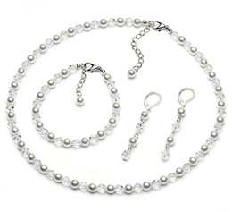 Wholesale Ivory Pearl Necklaces - Silver Tone Ivory Faux Pearl and Clear Crystal Bridal Necklace Bracelet Earrings Jewelry Sets for wedding