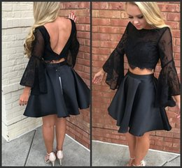 images flare short dresses Promo Codes - Two Pieces Short Black Homecoming Dresses Flare Sleeve Backless Lace Top Satin Skirt Prom Gowns vestido curto Custom Size