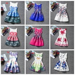 Wholesale Chinese Floral Dress - Sample offer 20 styles girl floral dress cat flower butterfly printed big girl prom dresses children skirts fashion top quality boutiques