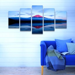 Wholesale Lake Wall Art - 5 Piece Painting Volcano Lake Landscape Painting Canvas Print Modern Home Decoration Wall Art Picture for Living Room Frameless