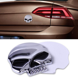 Wholesale Car Emblem Logo Devil - Car Styling Stickers Decal Acc Metal 3D Silver Skull Skeleton Devil Head Emblem Badge Logo Sticker Decal Fit for Motorcycle Car