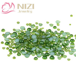 Wholesale Arts Crafts Pearls - Dark Green Half Round Craft ABS Imitation Pearls 10-14mm Scrapbook Resin Glue On Beads Trims For 3D Nail Art Charms Accessories