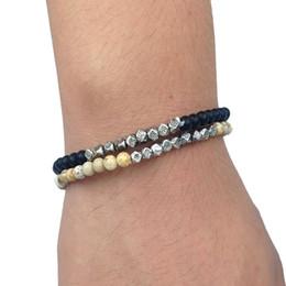 Wholesale Square Bead Bracelet - SN0125 Trend Summer Bracelet Set 4mm Square Mala Bead Bracelet set For Men Black Onyx Picture Jasper Beads Stretch Bracelet