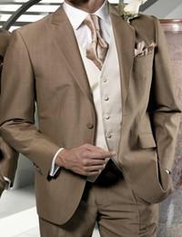 Wholesale Men Tan Wedding Suits - Wholesale-New Arrival Cheapest Tan Groom Tuxedos Men Wedding Suits Peaked Lapel Tuxedo Suits Groomsman Business Wears (Jacket+Pants+Vest)