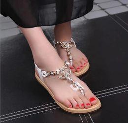Wholesale Strap Heels Women - summer styles women sandals 2016 female channel rhinestone comfortable flats flip gladiator sandals party wedding shoes