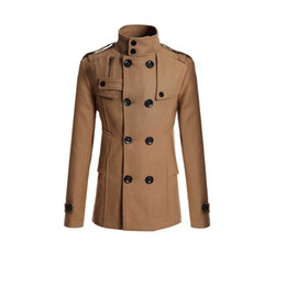 Wholesale Mens Double Trench Coats - Fall-2016 Autumn Winter Men's Windbreaker Lapel Thick Warm Wool Trench Coat Mens Overcoat Abrigos Hombres Invierno Plus Size Y00088