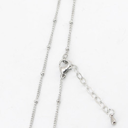 Wholesale Stainless Glass Lockets - 10pcs 316L stainless steel 20+2inch welding jumpring ball station chain necklace for living glass locket glass lockets & oil Diffuser Locket