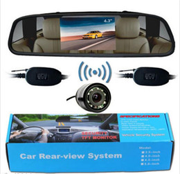 """Wholesale Wireless Rearview Camera Monitors - Wireless Car Rearview Parking System 4.3"""" LCD Mirror Monitor Backup Camera 28mm"""