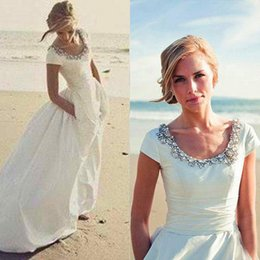 Wholesale Exquisite Stone - Sparkly 2016 Cheap Country Beach Wedding Dress A Line Exquisite Crystals Scoop Neck Stones Capped Short Sleeves Bridal Gowns with Pockets