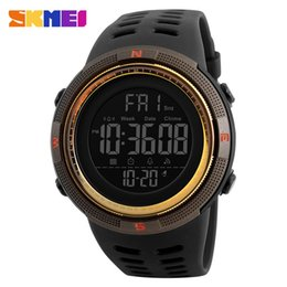 Wholesale Watch Double Time - SKMEI Men Sports Watches Countdown Double Time Army Watch Alarm Chrono Digital LED Dispaly Wristwatches 50M Waterproof Relogio Masculino