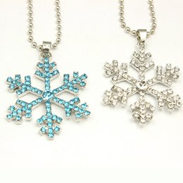 Wholesale Crystal Jewelry For Kids - Rhinestone Snowflake Pendant statement Necklace Crystal Cartoon Necklace For Children Kids Movie Jewelry High Quality