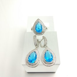 Wholesale blue topaz white gold - Water Drop sky blue 925 Sterling Silver Women Jewelry Sets White Topaz Surrounded Earrings Rings Free Box