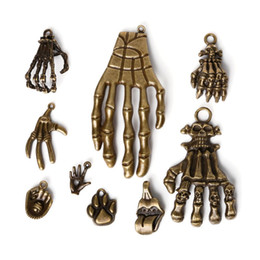 Wholesale Hand Bone Necklace - Free shipping New 30pcs lot Zinc Alloy Antique Bronze Plated Bone Hand Charms Vintage Tibetan Pendants DIY Bracelet Necklace jewelry making