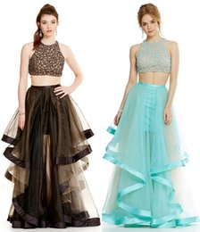 Wholesale Spaghetti V Neck Homecoming Dress - 2016 two piece blue black prom dresses crystals beaded bodice long ruffled tulle skirts ball gown prom gowns graduation homecoming dresses