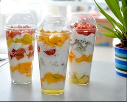 16 oz / 480 ml copo da companhia aérea com tampa de plástico rígido descartável copo PS copo de suco de frutas alimentos Transparente grande capacidade de 200 conjuntos de