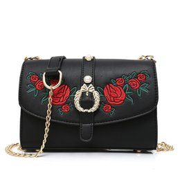 Wholesale Extra Large Brown Bags - Women embroidered Rose Flower Handbags Women PU Leather Handbags Women Messenger Bags Shoulder Bags 20x9x14cm 0.5KG