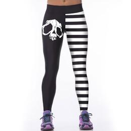 Wholesale Sexy Leggings Skull - Wholesale- Skull Black And White Stripes Woman Leggins Leggings Sporting Legging Fitness Warm Sexy Printed 3D Autumn Pant Polainas