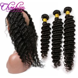 Wholesale Natural Rose Hair - Slove Rose 10A Brazilian Virgin Hair Pre Plucked 360 Frontal with Bundles Deep Weave Hair Weaves 360 Lace Frontal with Bundles Remy Hair