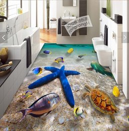 3d flooring wallpapers Coupons - 3d pvc flooring custom photo Waterproof floor wall sticker sea world starfish seawater 3d wall murals wallpaper room decoration painting