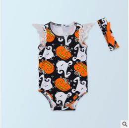 Wholesale Girl Summer Outfit Headband - Halloween Costume Halloween Rompers Sets Lace Sleeveless Orange Pumpkin Halloween Costumes Newborn Onesies Headband Sets Baby Romper Outfit