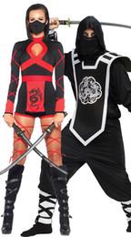 Wholesale Adult Ninja Costumes - Ninja Costume Couple Costume Masquerade Party Halloween Costumes for Women Adult Men Ninja Samura Assassins Costume