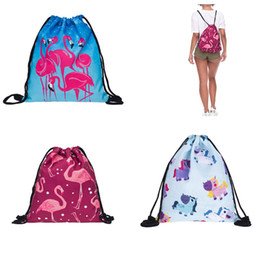 Wholesale Wholesale Kid Suitcases - Flamingo Unicorn Suitcase Kid Backpack Kids Adult Women Accessories Handbags Portable Shopping Bag For Children Gift