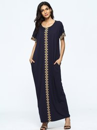 Wholesale Hot Muslim Women - Middle East Women Loose Short Sleeve Robe Summer Plus Size Long Dress Hot Sale Fashionable Pregnancy Clothing Pure Color Muslim Apparel