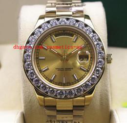 Wholesale 18kt Gold Watches - Factory Sales Luxury Wristwatch New Mens 2 II Solid 18kt Yellow Gold 41MM Bigger Diamond Watch Ceramic Bezel Automatic Mechanical Men Watch
