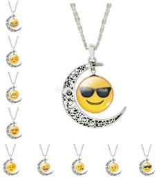 Wholesale Heart Cabochon Glass - Emoji Moon Pendant Necklaces QQ WeChat Expression Necklaces Glass Cabochon Silver Pendant Necklaces for Women 13 Style