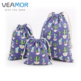 Wholesale Wholesale Bags Jewelry Sets - Wholesale- VEAMOR 3PCS SET Canvas Candy Gift Bags for Children Cactus Beam Port Drawstring Bags Small Jewelry Gift Storage Bags WB142