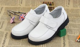 Wholesale Boys Fashion Dress Shoes - White Black Child Geniune Leather Shoes Casual Loafers Spring Autumn Flat Shoes Fashion Comfortable Boy Shoes