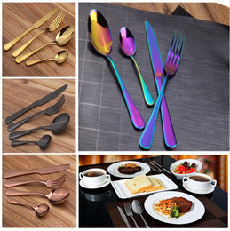 Wholesale Spoon Fork Wholesale - Stainless Steel Cutlery Set Rainbow Gold Plated Dinnerware Fork Knife Spoon Dinner Set for Wedding Party 4pcs set OOA2712