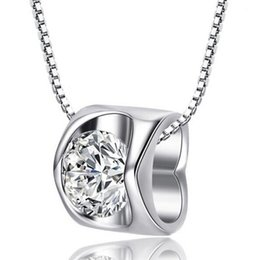 placas de amor Desconto Encantador 925 Sterling Silver Banhado A Real Amor Heart-Shaped Cristal Colar de Presente # R571