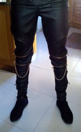 Wholesale Leather Pants Zippers Mens - Wholesale-black destroyed mens Fashion Mens Hip Hop Leather Pants With Gold Knee Zippers PU Faux Leather Joggers Trousers Pants