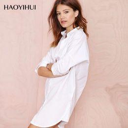 Wholesale White Boyfriend Shirt - 2016 BF Boyfriend Wind Style White Shirt Spring Summer Outfit Sexy Long-sleeved Tooling White Shirt Pajamas Women Loose Shirt