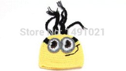 Wholesale Despicable Knitted Hat Infants - Baby Infant Christmas Knitted Cotton Crochet Costume Despicable Me Minions Photo Photography Prop Newborn baby clothes SY13