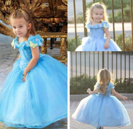 costumes de robes de bal halloween Promotion Vente chaude Cap Manches Bleu Film Cendrillon Robes 2019 Cosplay Costume Robe De Bal Fleur Filles Robes Princesse Filles Pageant Robes