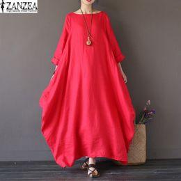 Wholesale Kaftan Dresses - Wholesale- 2017 ZANZEA Womens Crewneck 3 4 Sleeve Baggy Maxi Long Casual Party Shirt Dress Kaftan Solid Robe Vestido Plus Size