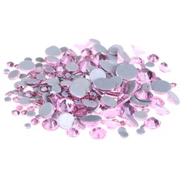 Wholesale Rhinestone Strass - Light Rose Crystal Hotfix Rhinestones For Nail ss6-ss30 And Mixed Glue Backing Iron On Strass Stone DIY Wedding Clothes Supplies