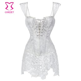 Wholesale Brocade Wedding - Wholesale-Floral Brocade&Lace White Burlesque Dress Sexy Corset Dress Corselet Gothic Clothing Plus Size 6XL Wedding Corsets And