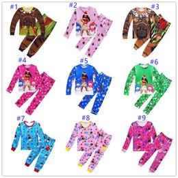 Wholesale Baby Clothes Gift Sets - 33 Style Children Christmas Moana Suits Pajamas Girls Boys Cotton Cartoon Long Sleeve T-shirt+Pants 2pcs Sets Baby Kids Clothes Xmas gift