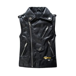 Wholesale Leather Vests For Men - Spring and Autumn Children Outerwear WaistCoat Kids Clothes Baby Boy Girls Leather Vest Kids Zipper Gilet For 3-13 Years Old
