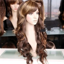 Wholesale Long Curly Beautiful Wigs - 100% Brand New High Quality Fashion Picture full lace wigs>>Beautiful sexy stylish long mixed curly blonde brown wig wigs for wome