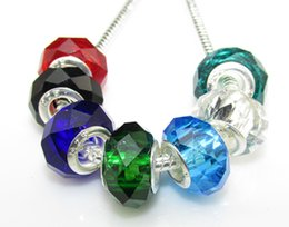 Wholesale Wholesale Silver Core Beads - Wholesale Silver Core Murano Many Colors Crystal Charms Big Hole Beads Fit European Charm Bracelet Necklace DIY Jewelry Fittings
