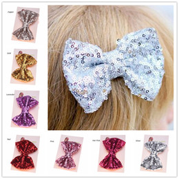 Wholesale Wholesale Cheap Bling - Wholesale 24pcs Sequin Hair Bows Large Hairbow hairclip Gold Hair bows Fashion Hair Accessories Bling Hairclips Cheap Glitter Bow