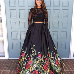 Wholesale Long Line Skirt Pattern - 2017 Open Back Two Piece Floral Print Graduation Homecoming Dress Long Sleeves Lace Prom Gown Satin A-line Flower Pattern Skirt prom dresses